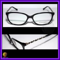 Óculos De Grau Armação Preta, Couro Preto Chanel 3221