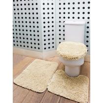 Jogo De Tapete P/ Banheiro Encanto 3 Peças Cor Palha