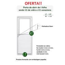 Porta De Alumínio Com Veneziana E Vidro Branco 0,80 X 2,10