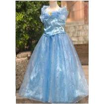 Vestido Infantil Festa/princesa Cinderela Azul Frete Gratis!
