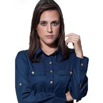 Camisa Social Feminina Azul Marinho