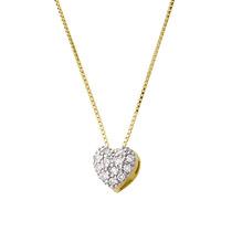 Monreale Gragantilha De Ouro 18k Pingente Coração Diamantes