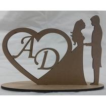 Casal Noivos 20cm Base Bolo Casamento Iniciais