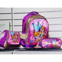 Kit Mochila Infantil Escolar Feminina Princesas Na Cor Lilas