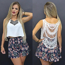 Blusinha Regata Cropped Renda Decote Nas Costas Rendada