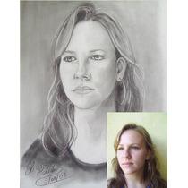 Desenho Retrato Lápis Crayon Tam. 21 X 30cm Encomende O Seu