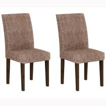 Conjunto 2 Cadeiras Grecia Rufato Wengué/suede Amassado