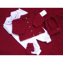 Conjunto Maternidade Manta- Casaco-salopete - Touca E Luvas