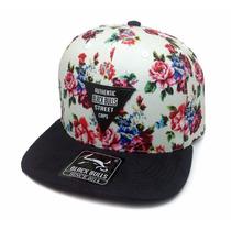Boné Aba Reta Black Bulls Snapback Lançamento Bolinha Floral