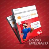 Cartão Nintendo 3ds Wii U Switch Eshop Cash $60 (50$+10$) Us