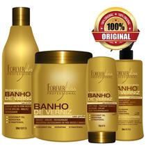 Máscara + Shampoo + Leave In +queratina Banho Verniz Forever