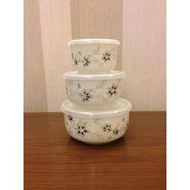Conjunto 3 Tigelas/tupperware De Porcelana Com Tampa Vedação