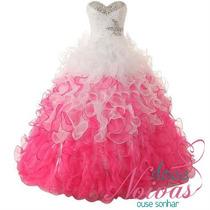 Pronta Entrega Vestido Debutante Pink Com Branco