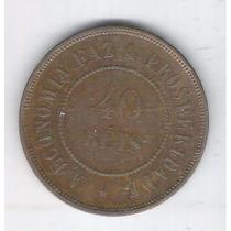 Brasil Moeda De 40 Réis 1900 Soberba, Bronze - 12g - 30mm