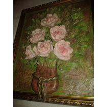 Quadro Arte Francesa Em Biscuit Jarro De Rosas Frete Grátis