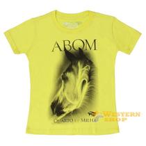 Camiseta Baby Look Feminina Amarela 100% Algodão -abqm 14996
