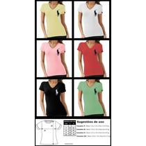 Camiseta Feminina Polo Ralph Lauren, Manga Curta, Gola V,