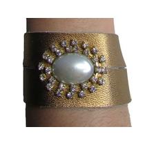 Pulseira Bracelete Feminina De Couro Sintético