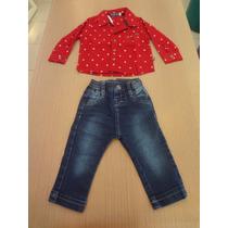 Conjunto Planet Kids Camisa Social + Calça Jeans.estampinha.