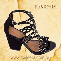 Sandália Feminina Preta Torricella Strass Salto Festa N35