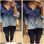 Comprar Blusa Feminina Manga Longa Jeans Com Estampa