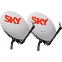 Kit 2 Antenas Sky Hd Completa + Lnbs Duplo + 40m De Cabos