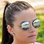 Óculos Feminino Masculino De Sol Redondo Espelhado Unisex