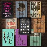 Kit Com 5 Placas Decorativas Em Mdf - Frases - Motivacionais