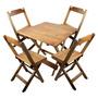 Conjunto De Cadeira E Mesa Dobrável De Madeira 60x60 Natural
