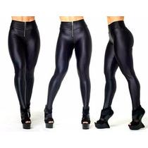 Calça Legging Brilho Disco Hot-pants Cintura Alta Com Zíper