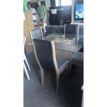 Mesa De Jantar Tampo Vidro 4 Cadeiras Mdf (somente Rj)