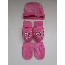 Conjunto Bebê Recém Nascido Luva Sapatinho Touca Rosa Plush