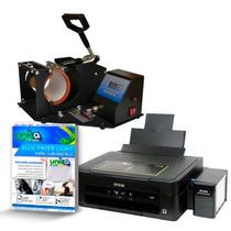 Ub 12 Maquina Canecas + Impressora + 100 Folhas A4
