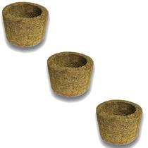3 Vasos Xaxim De Palmeira T3 Para Orquídeas E Samambaias