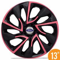 Calota Esportiva 13 Ds4 Pink Preta P/ Ford Ka Fiesta Escort