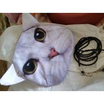 Bolsa 3d Tiracolo Cara De Gato Cat Print Com Orelhas Brancas