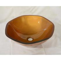 Cuba De Vidro Dourada Para Banheiro - Heptagonal - 41cm