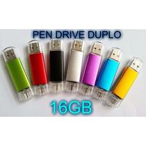 Pen Drive 16gb Reais Duplo Usb Para Pc E Celular