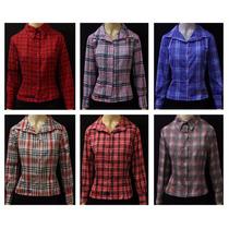 Camisete Camisa Xadrez Feminina Blusa - Modela A Cintura
