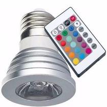 Lampada Led Colorida Com Controle Remoto Rgb 3w