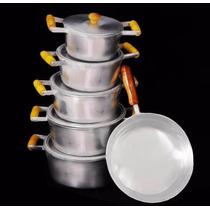 Jogo De Panelas Aluminio Batido Tampas Grossas + Frigideira