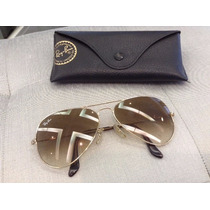Óculos De Sol Ray-ban Aviador Dourado Original