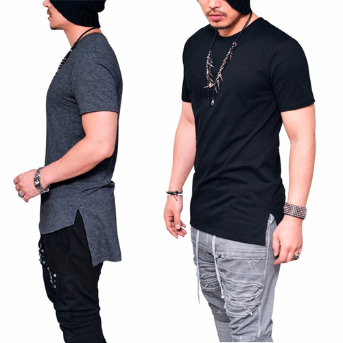 a36da3f08a Camiseta Camisa Longline Oversized Masculina Longa Alongada à venda ...