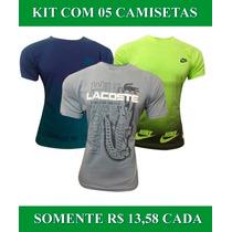 Lote 05 Camiseta Kit Atacado Hollister Nike Adidas Tomy Polo