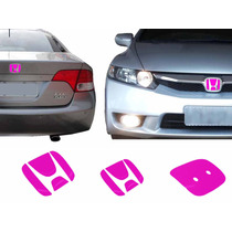 Par Aplique Rosa Emblema New Civic 06 A 11 Traseiro Frontal