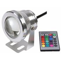 Refletor Holofote Led Rgbw 10w Piscina + Controle + Fonte