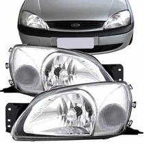 Farol Ford Fiesta 2000 2001 2002 00 01 02 Cristal Branco