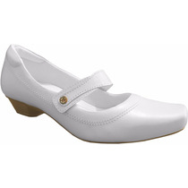 Sapato Branco Para Enfermagem Salto 3707 Linha Hospitalar