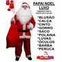 Roupa Papai Noel Fantasia C/ Barba E Peruca + Luvas + Óculos