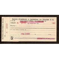Ch194 Cheque Antigo Banco Comercio E Ind. Da Paraíba 1970